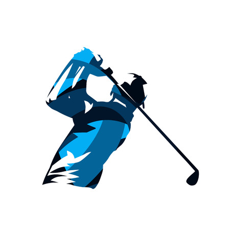 Golf player, abstract blue isolated vector silhouette. Golf swing logo