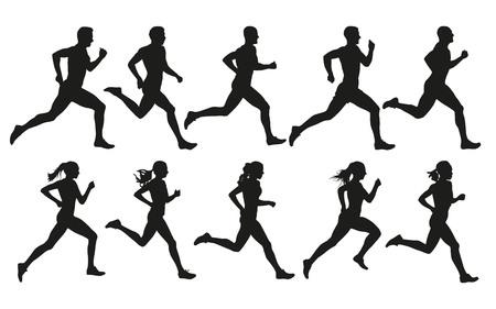 Lauf. Laufende Männer und Frauen, Vektorsatz isolierter Silhouetten Vektorgrafik