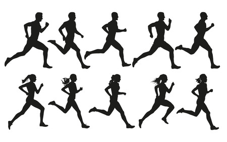Run. Running men and women, vector set of isolated silhouettes Çizim