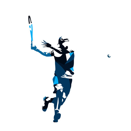 Tennis player, abstract blue isolated vector silhouette. Forehand Vektorgrafik