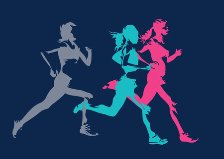 Group of running women, abstract isolated vector silhouettes