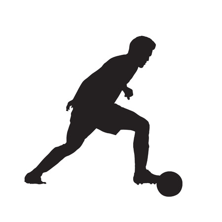 Soccer player with ball, isolated vector silhouette