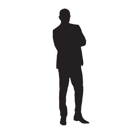 Businessman in suit standing with folded arms, isolated vector silhouette. Business people