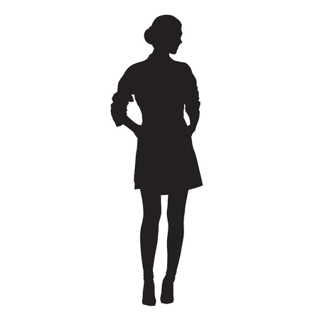 Business woman standing, isolated vector silhouette. Model posing