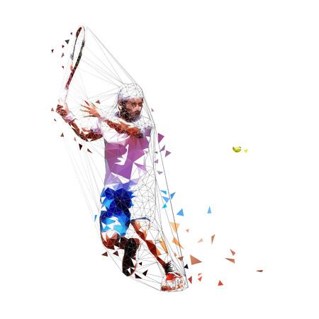 Ilustración de vector de baja poli de jugador de tenis. Hombre adulto aislado en camisa blanca y pantalón azul jugando al tenis. Deporte de verano individual. Gente activa