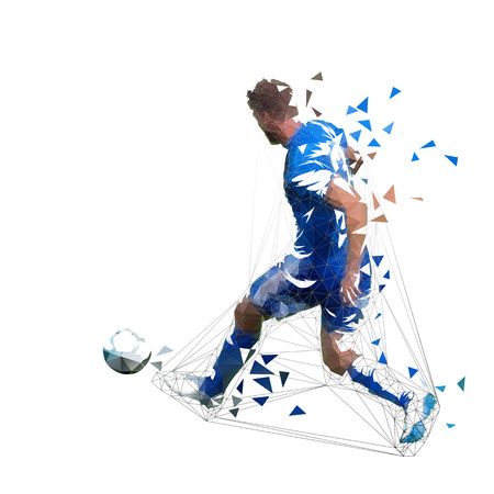 Football player in blue jersey pasing ball, abstract low poly vector drawing. Soccer player kicking ball. Isolated geometric colorful illustration, rear view