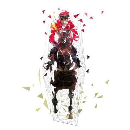 Equitazione, illustrazione vettoriale poligonale astratta. Vista frontale