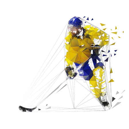 Hockey player, polygonal vector illustration. Low poly ice hockey skater with puck Vettoriali