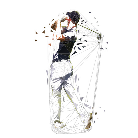 Golf player, low polygonal vector illustration. Isolated geometric golfer. Golf swing Illustration