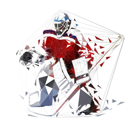 Hockey-Tormann, geometrische Vektorillustration. Eishockeyspieler, Low Poly Vektorgrafik