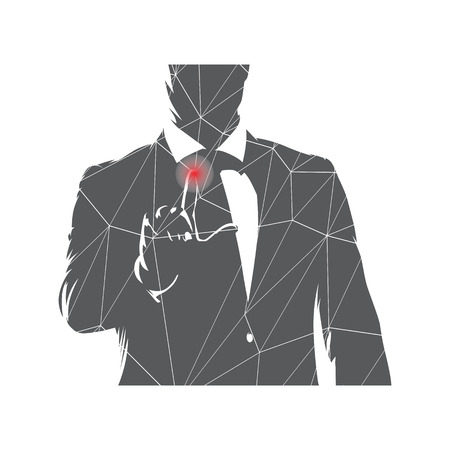 Businessman touching screen and working with network. Modern technologies, isolated vector illustration