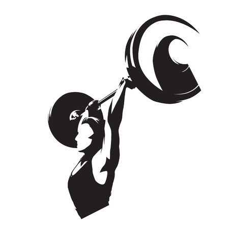 Mujer levantador de pesas, chica fuerte levantando barra grande. Silueta de vector aislado. Logotipo de fitness de levantamiento de pesas Logos