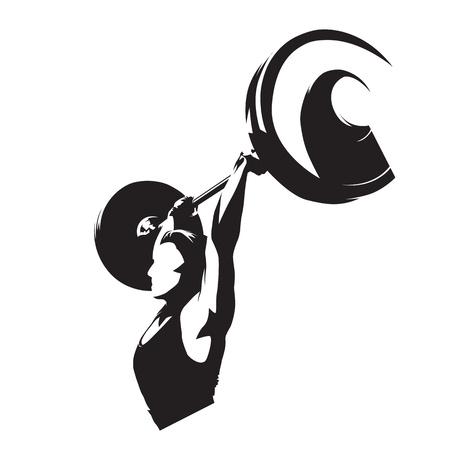 Podnośnik ciężarów kobieta, silna dziewczyna podnosząca dużą sztangę. Sylwetka wektor na białym tle. Logo fitness w podnoszeniu ciężarów Logo