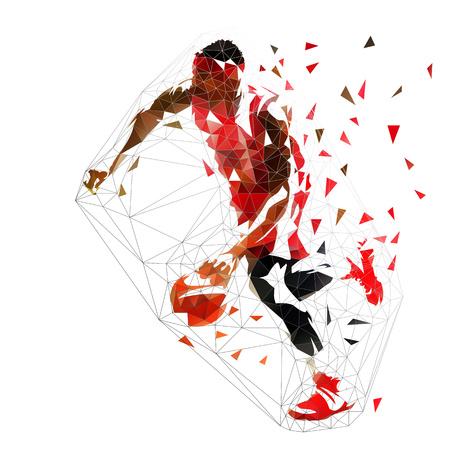 Jugador de baloncesto goteando con balón, ilustración vectorial poligonal baja aislada. Vista lateral