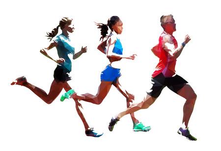 Laufen Sie, Gruppe laufender Leute, niedrige polygonale laufende Athleten Isolierte Vektorillustrationen Vektorgrafik