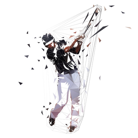 Baseball player in black jersey swinging with bat, isolated low polygonal vector illustration. Front view