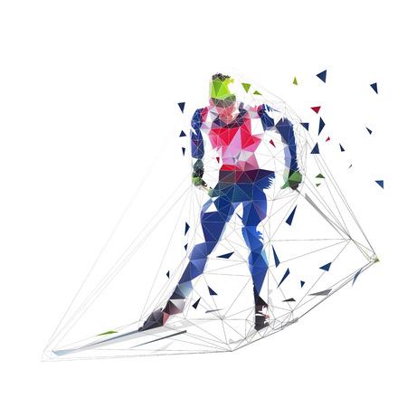 Esquiador de fondo en jersey azul, ilustración vectorial poligonal baja, deportes de invierno. Vista frontal. Gente activa