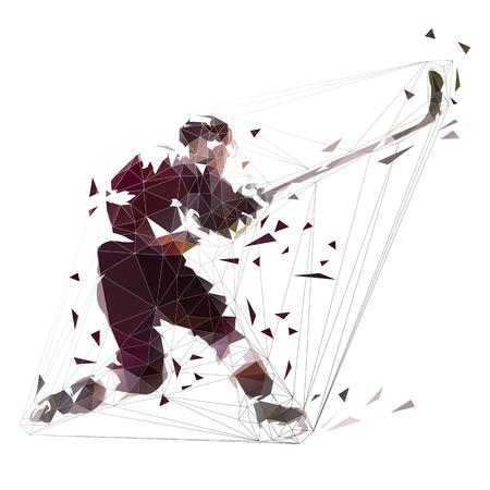 Jugador de hockey sobre hielo que dispara el disco, ilustración de vector aislado de polígono bajo. Un disparo de bofetada con temporizador. Gente activa, deporte de equipo de invierno