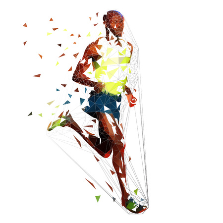 Low polygonal running man. Marathon runner, isolated geometric vector illustration