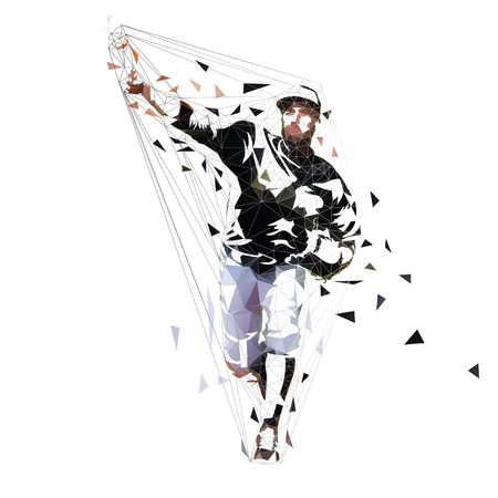 Baseball pitcher throwing ball, geometric vector illustration. Low poly team sport athlete