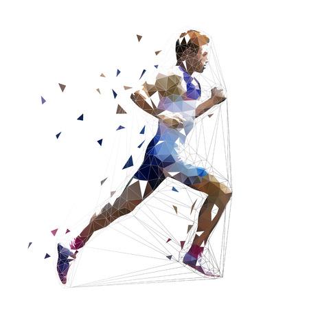 Corridore, illustrazione vettoriale poligonale basso. Velocista geometrico, vista laterale. Uomo che corre adulto Vettoriali