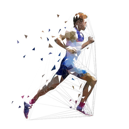 Läufer, niedrige polygonale Vektorillustration. Geometrischer Sprinter, Seitenansicht. Laufender erwachsener Mann Vektorgrafik