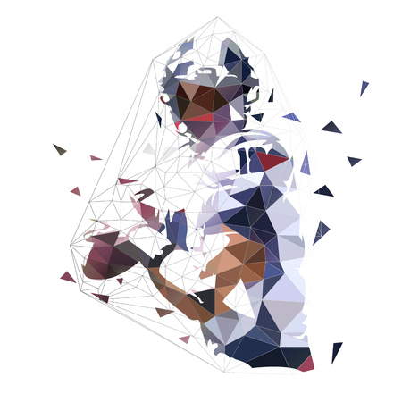 American football player with ball, isolated geometric low poly illustration