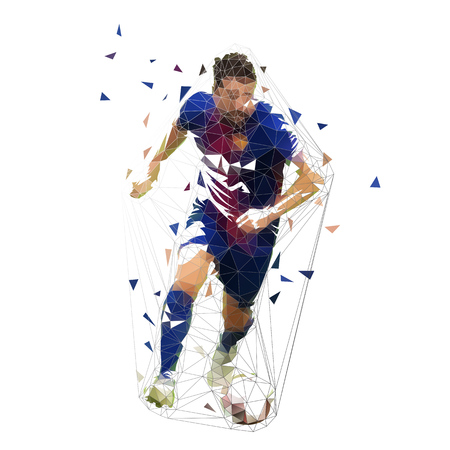 Football player in dark blue jersey running with ball, abstract low poly vector drawing. Running soccer player. Isolated geometric colorful illustration, front view Illustration
