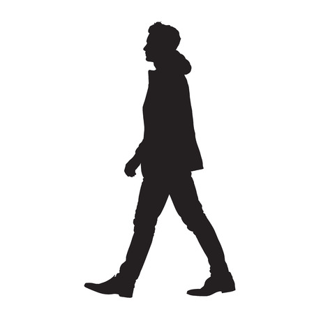 Man walking forward, isolated vector silhouette, side view Illustration
