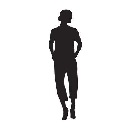Woman walking in high heels shoes, jacket and trousers. Hands in pockets. Isolated vector silhouette Illustration