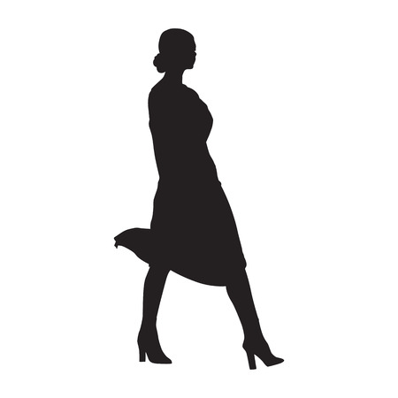 Businesswoman walking, side view, isolated vector silhouette. Business people, model