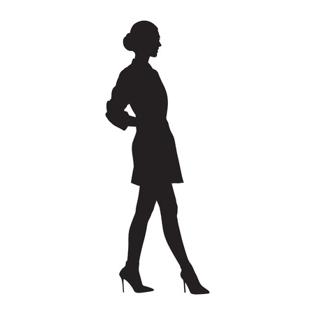 Businesswoman walking in high heels shoes and mini skirt, side view, isolated vector silhouette. Business people, model
