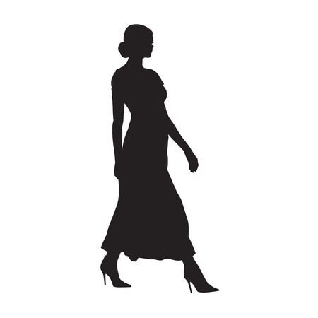 Businesswoman walking, side view, isolated vector silhouette. Business people, model. Attractive people