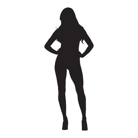 Femme mince sexy aux cheveux longs debout avec la main sur les hanches, chaussures à talons hauts, silhouette vecteur isolé, vue de face. Modèle attrayant