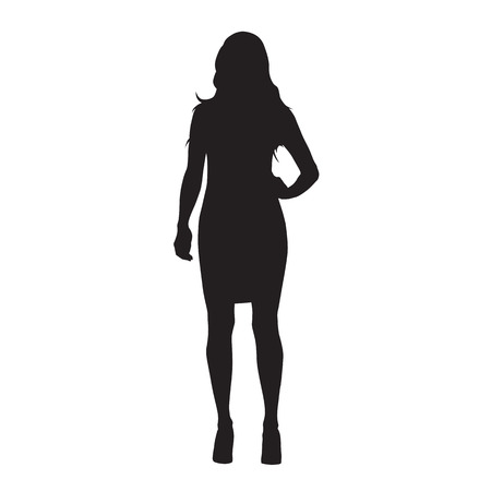 Business woman in mini skirt standing with hand on hip, isolated vector silhouette. Front view
