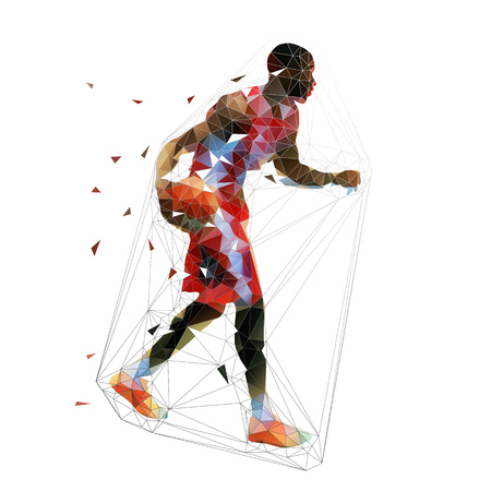 Basketball player in red jersey running with ball, low polygonal vector illustration. African american athlete