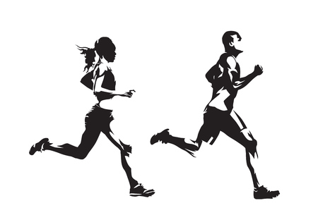 Homme et femme en cours d'exécution, dessins à l'encre, silhouettes vectorielles isolées. Courir, vue de côté Vecteurs