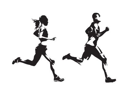 Lopende man en vrouw, inkttekeningen, geïsoleerde vectorsilhouetten. Rennen, zijaanzicht Vector Illustratie