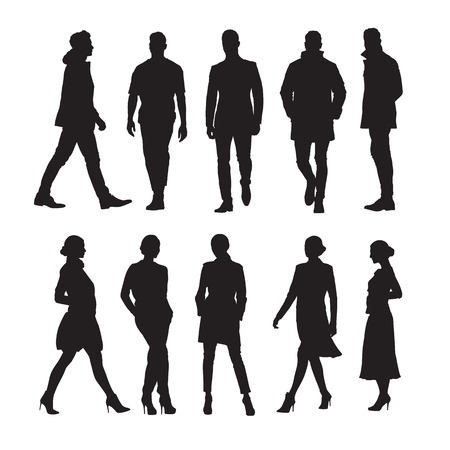 Business people, group of men and women isolated vector silhouettes