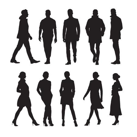 Gens d'affaires, groupe d'hommes et de femmes silhouettes vectorielles isolées