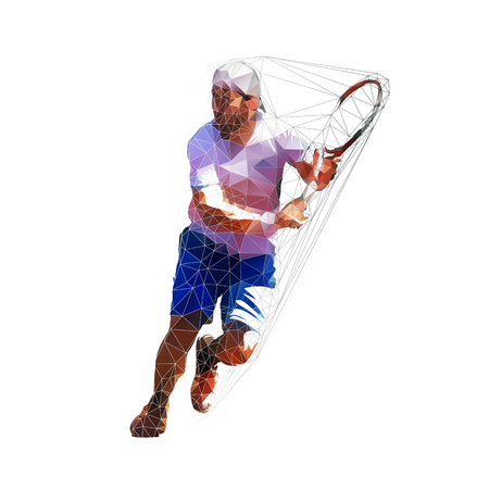 Tennis player running, isolated low polygonal vector illustration Stock Illustratie