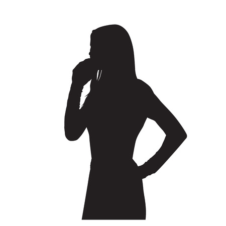 Business woman calling on cell phone, isolated vector silhouette