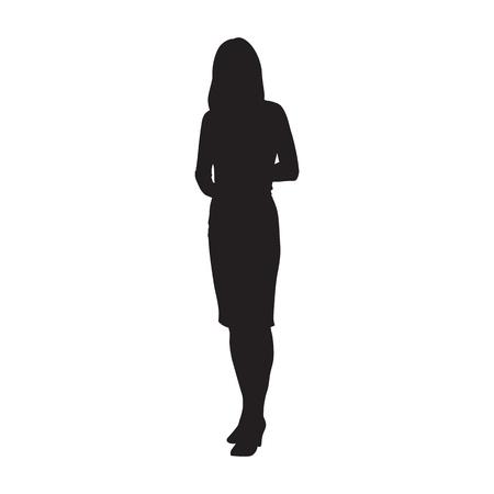 Femme d'affaires debout, silhouette vecteur isolé