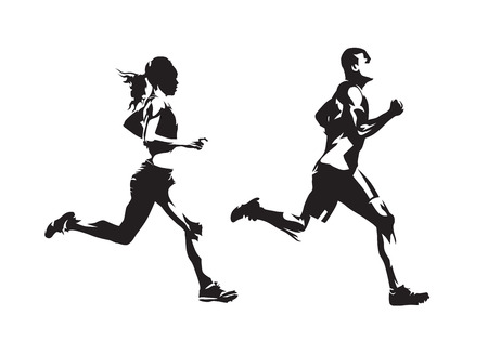 Hombre y mujer corriendo, dibujos a tinta, siluetas vectoriales aisladas. Correr, vista lateral
