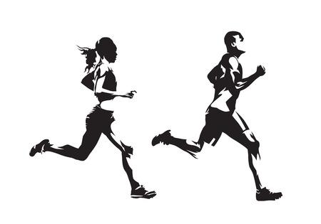 Lopende man en vrouw, inkttekeningen, geïsoleerde vectorsilhouetten. Rennen, zijaanzicht