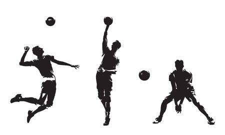Gruppe von Volleyballspielern, isolierte Vektorsilhouetten. Mannschaftssport, aktive Leute. Beach-Volleyball