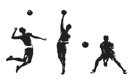 Gruppo di giocatori di pallavolo, set di sagome vettoriali isolate. Sport di squadra, persone attive. Beach volley