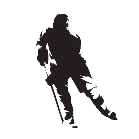 Hockey player, isolated vector silhouette, front view. Ice hockey