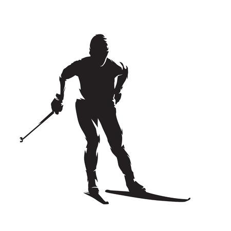 Skiew de fondo, esquí nórdico, silueta de vector aislado. Deporte de invierno