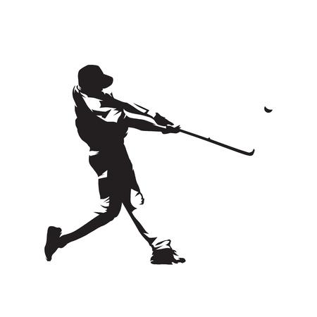 Baseball player hitting ball, batter,  isolated vector silhouette 일러스트